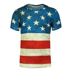 Short Sleeves Distressed American Flag Print Tee