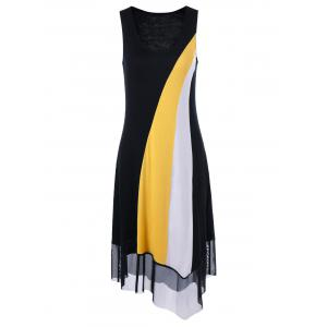 Tulle Trim Asymmetrical Casual Sleeveless Dress