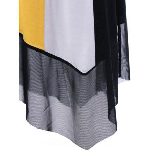 Tulle Trim Asymmetrical Casual Sleeveless Dress - YELLOW/BLACK XL