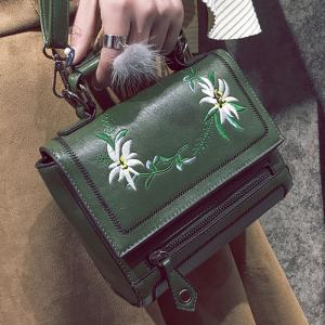 Floral Embroidery Flap Crossbody Bag - GREEN