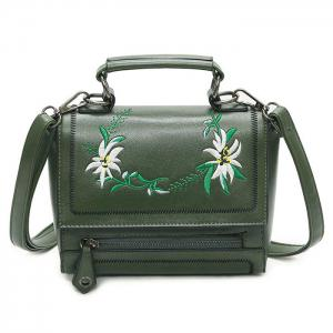 Floral Embroidery Flap Crossbody Bag