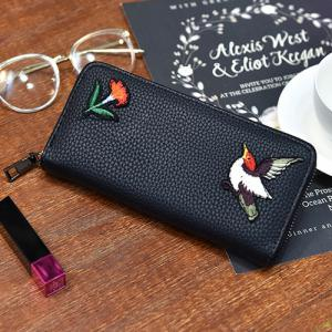 Zip Around Embroidery Wallet
