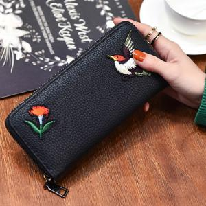 Zip Around Embroidery Wallet -