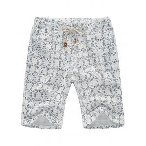 Pocket Pigeon Printed Linen Shorts