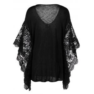 Plus Size Butterfly Sleeve Crochet Trim Blouse Lace Tops - BLACK XL