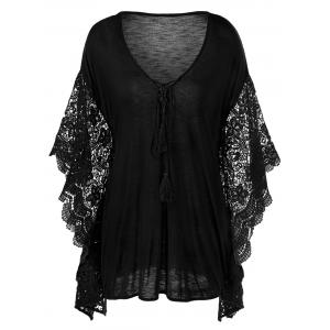 Plus Size Butterfly Sleeve Crochet Trim Blouse Lace Tops - Black - 5xl