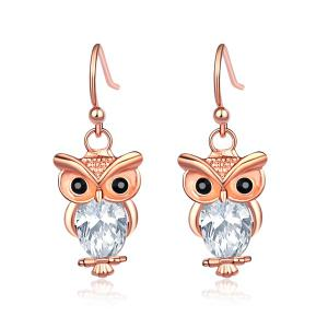 Owl Artificial Gem Rhinestone Hook Earrings