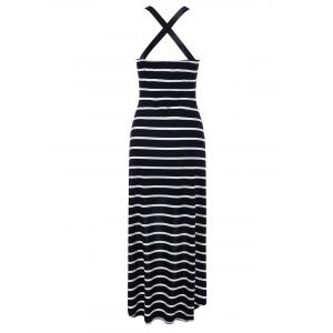 Criss Cross Striped Overlap Midi Summer Dress -