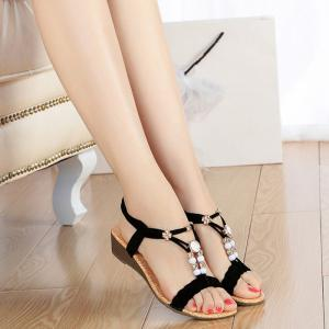 Beading T Strap Weaving Sandals -