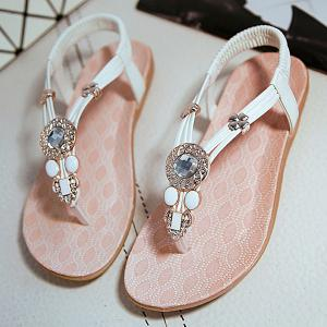 Elastic Band Rhinestones Flat Sandals - WHITE 38