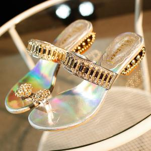 Rhinestones Metallic Color Slippers - SILVER 37