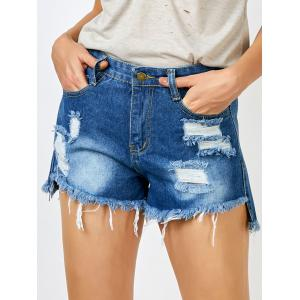 Ripped Jean Shorts with Pockets