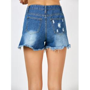 Ripped Jean Shorts with Pockets - BLUE M