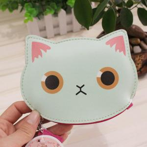 PU Leather Cat Character Coin Purse - Clover