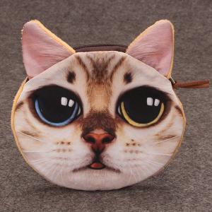Funny Cat 3D Painted Coin Purse - White