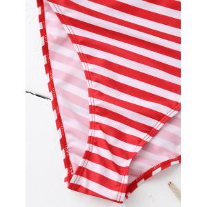 Pinstriped Backless One Piece Swimwear - RED S