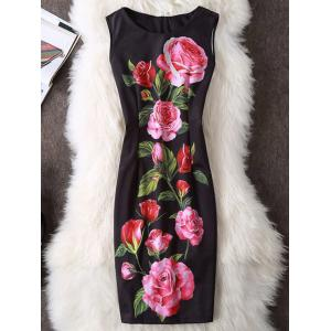 Rose Print Sleeveless Sheath Dress