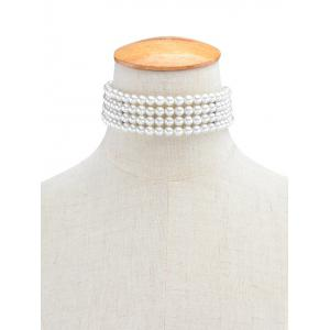 Multilayered Artificial Pearl Necklace - WHITE