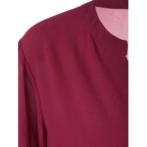 Plus Size Split-Neck Adjustable Sleeve Blouse - WINE RED XL
