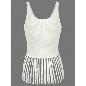 Ribbed Tassel Knitted Tank Top -