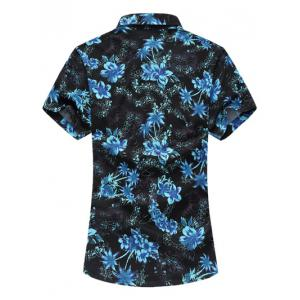 Casual Short Sleeve Summer Button Down Hawaiian Shirt - BLUE M