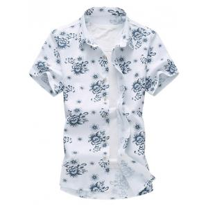 Flower Printed Short Sleeve Hawaiian Shirt