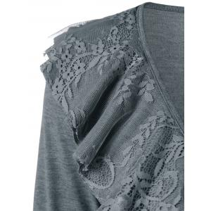 Lace Insert Cardigan with Brooch -