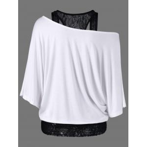 Skew Collar Lace Trim T-Shirt - WHITE L