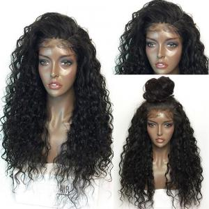 Fluffy Curly Long Lace Frontal Synthetic Wig - Black