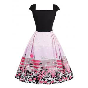 Vintage Floral Tower Print Pin Up Dress - PINK S