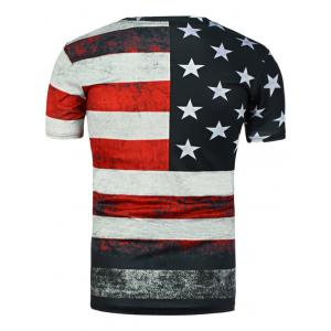 Distressed American Flag Print T Shirt -