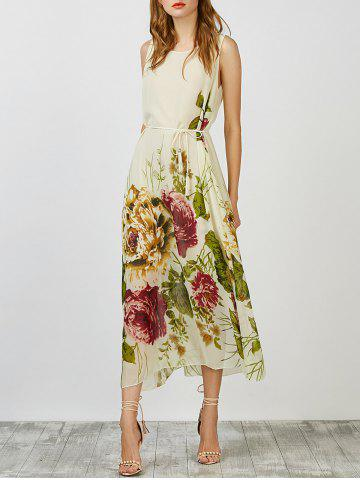 Latest Floral Chiffon Belted Summer Long Dress APRICOT L