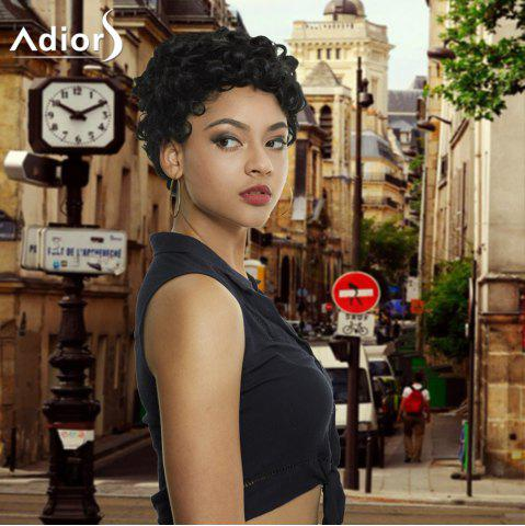 Sale Adiors Short Curly Side Bang Fluffy Synthetic Wig BLACK