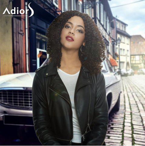 Chic Adiors Medium Afro Curly Centre Parting Synthetic Capless Wig BLACK