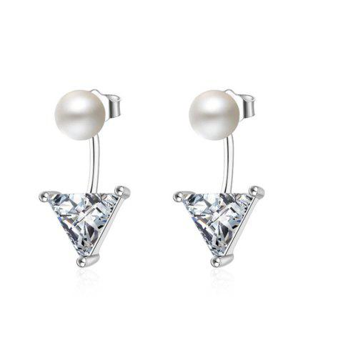 Faux Pearl Triangle Earring Jackets - Silver - One-size