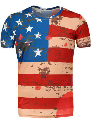 Round Neck Distressed American Flag T-Shirt - Red - 2xl