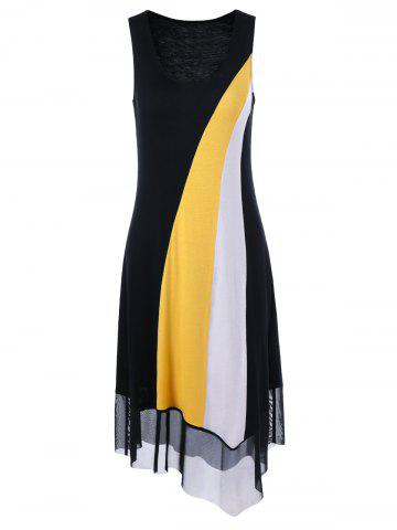 Shop Tulle Trim Asymmetrical Casual Sleeveless Dress YELLOW AND BLACK M