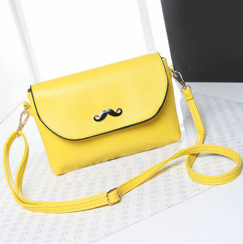 Hot Moustache Detial Candy Color Crossbody Bag LEMON YELLOW