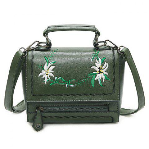 Outfits Floral Embroidery Flap Crossbody Bag GREEN