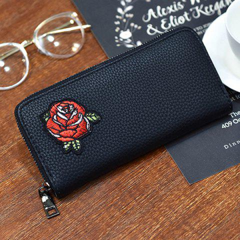 Store Zip Around Embroidery Wallet - ROSE  Mobile