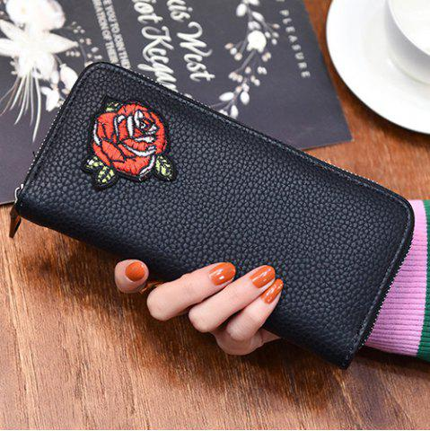 Fancy Zip Around Embroidery Wallet - ROSE  Mobile