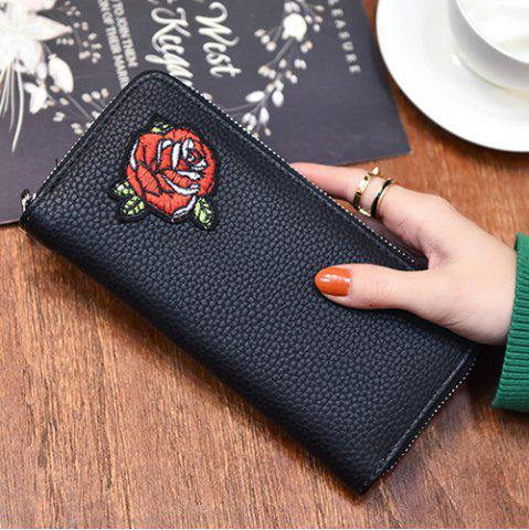 Affordable Zip Around Embroidery Wallet - ROSE  Mobile