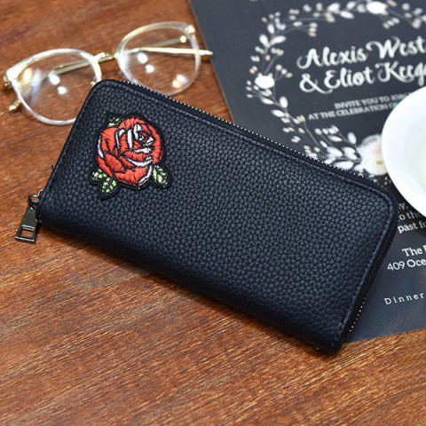 Discount Zip Around Embroidery Wallet - ROSE  Mobile