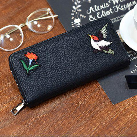 Outfit Zip Around Embroidery Wallet - BIRD PATTERN  Mobile