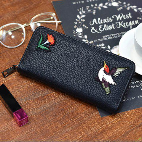 Zip Around Embroidery Wallet - Bird Pattern