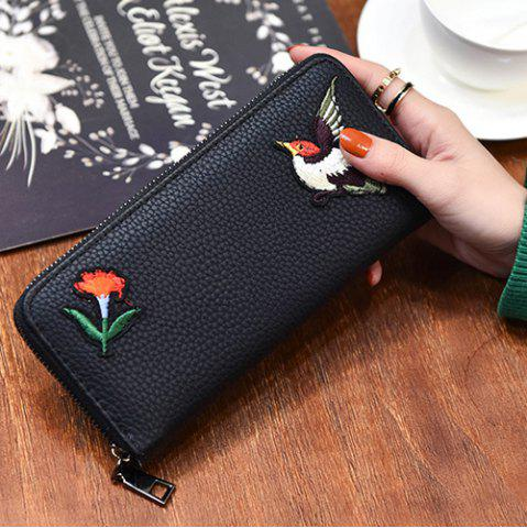 Store Zip Around Embroidery Wallet - BIRD PATTERN  Mobile