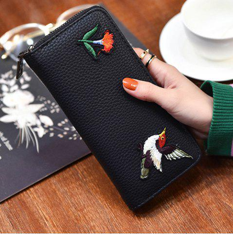 Cheap Zip Around Embroidery Wallet - BIRD PATTERN  Mobile