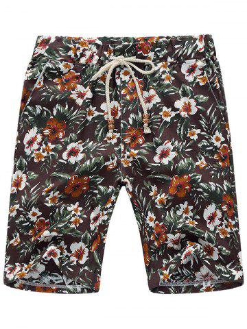 Shops Three Pockets Flower Linen Shorts - 2XL COFFEE Mobile