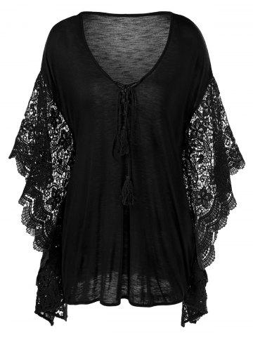 Cheap Plus Size Butterfly Sleeve Crochet Trim Blouse Lace Tops BLACK 5XL