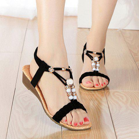 Beading T Strap Weaving Sandals - Black - 40